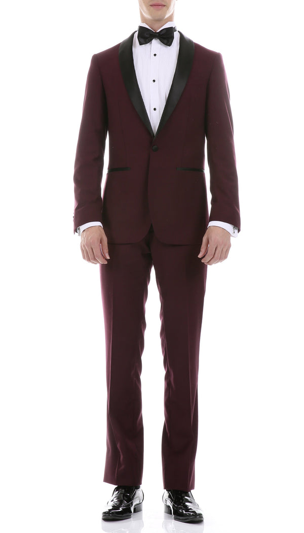 Ferrecci Men's Reno Burgundy Slim Fit Shawl Lapel 2 Piece Tuxedo Suit Set - Ferrecci USA