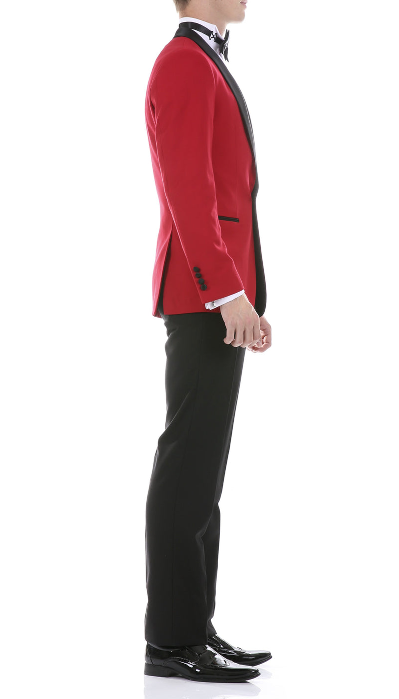 Ferrecci Men's Reno Red/Black Slim Fit Shawl Lapel 2 Piece Tuxedo Suit Set - Ferrecci USA