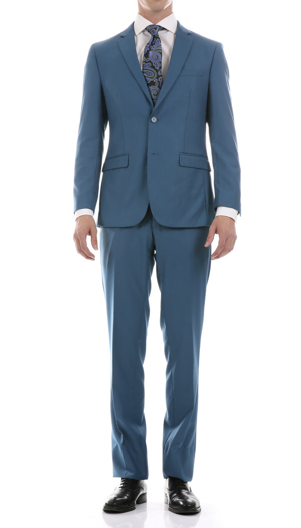 Oslo Teal Slim Fit Notch Lapel 2 Piece Suit - Ferrecci USA