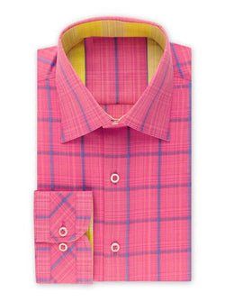 STEVEN LAND | NOVELTY CHECKED STRETCH SHIRT | FUCHSIA