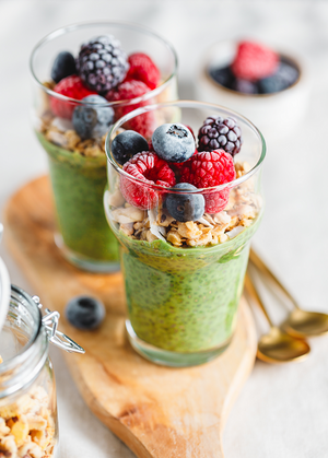 matcha coconut chia pudding with berries