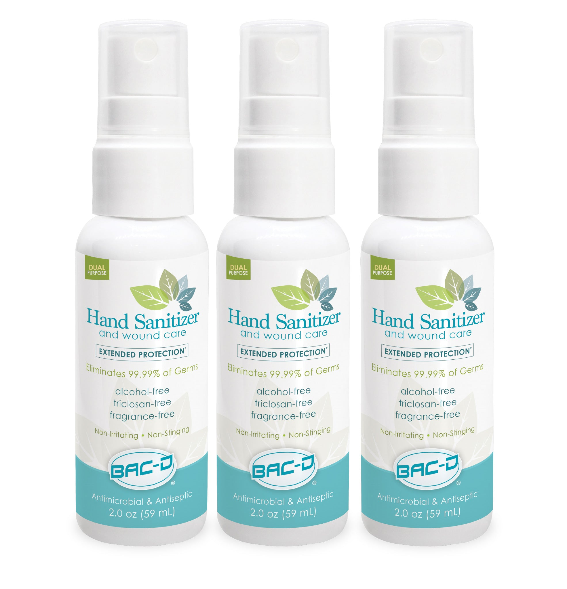 BAC-D® 2oz Spray Alcohol Free Hand Sanitizer & Wound Care - 3 Pack