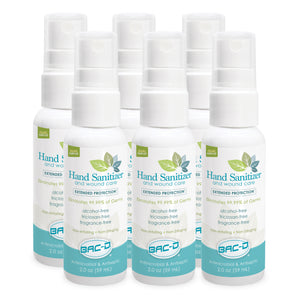 NEW!  BAC-D® Hand Sanitizer & Wound Care 2 oz. Spray - 6 Pack
