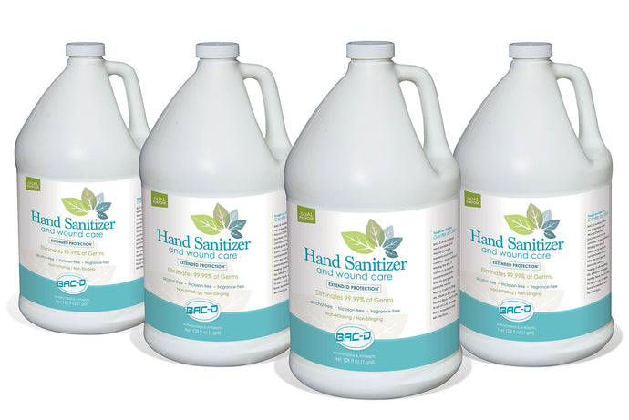 BAC-D Hand Sanitizer and Wound Care - 1 Gallon Refill Value Pack of 4