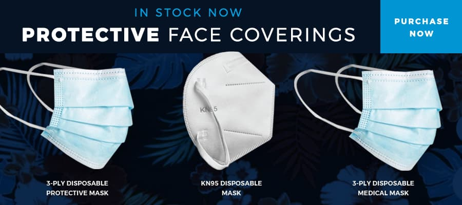 In stock now, protective face coverings