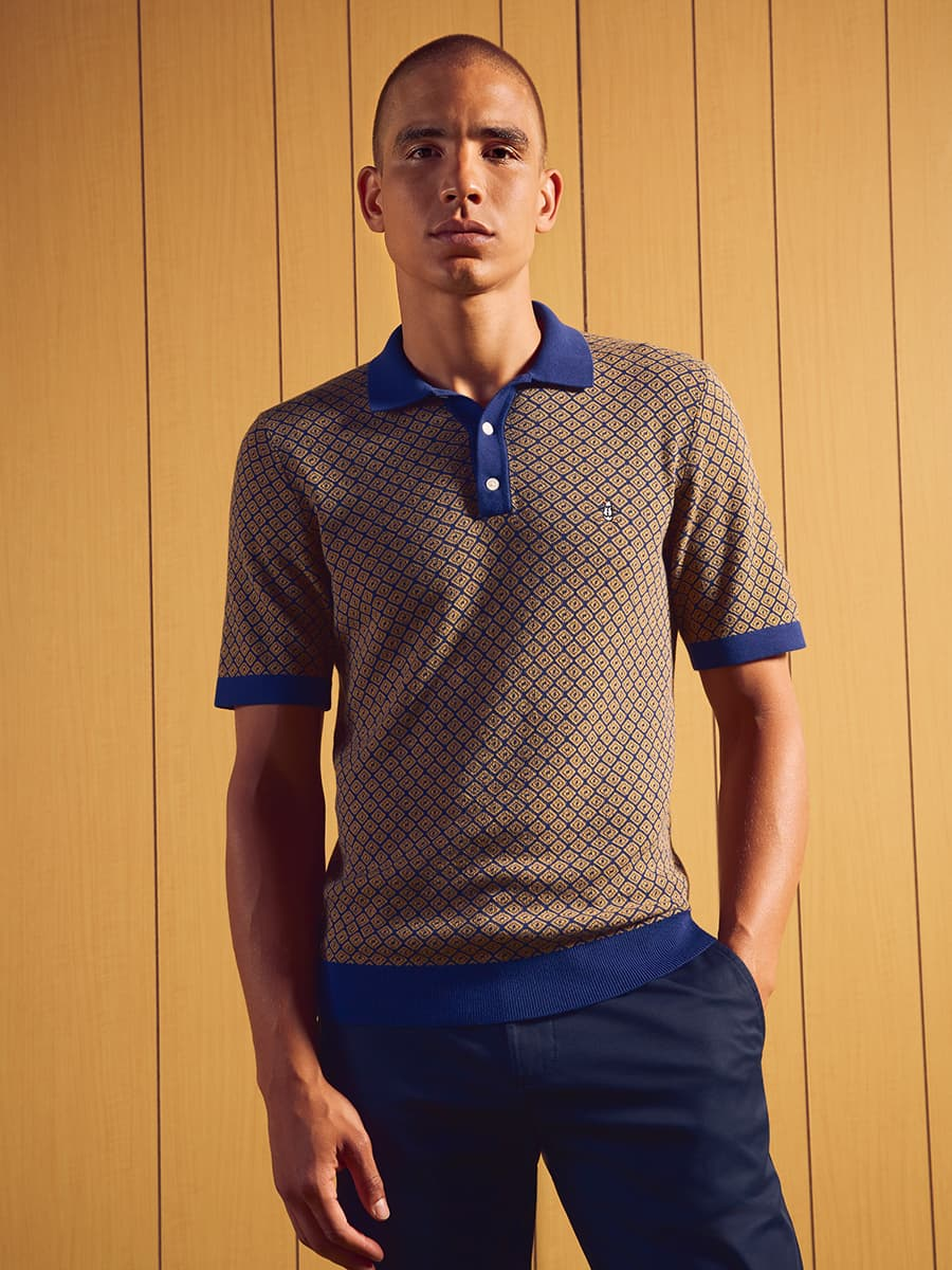 Jacquard Sweater Polo