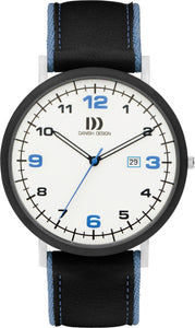 Black/ Blue Leather Mens Watch
