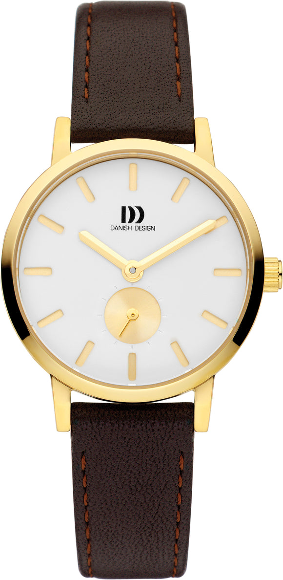 Yellow Gold and Brown Ladies Watch