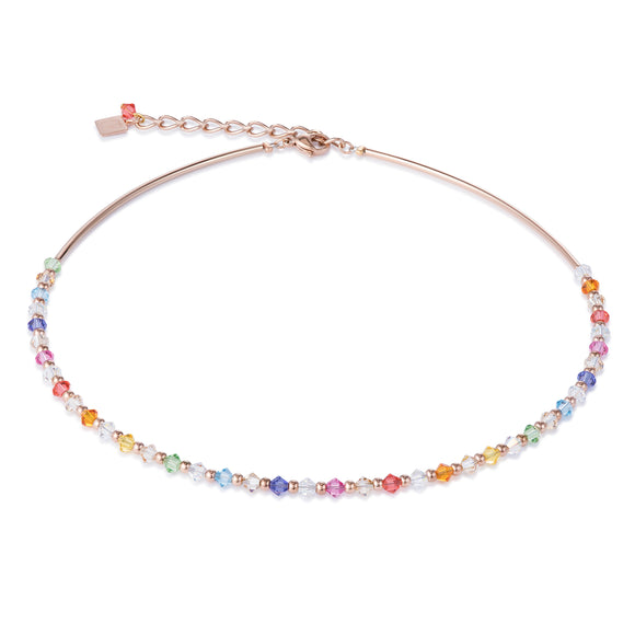 Delicate crystal necklace in pastel multicolours