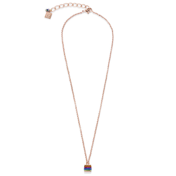 Multicolured Crystal Cube Necklace