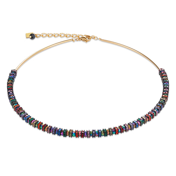 Multi-coloured Crystal and Gold Necklace