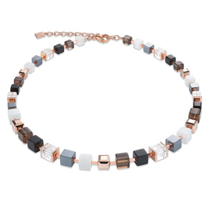 Larger Graduated Cube Necklace in Smoky Quartz and Rose Gold