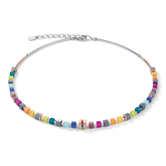 Rose Gold and Crystals Pave Multicoloured GeoCube Necklace