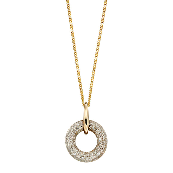 Gold and Diamond Open Circle Pendant Necklace