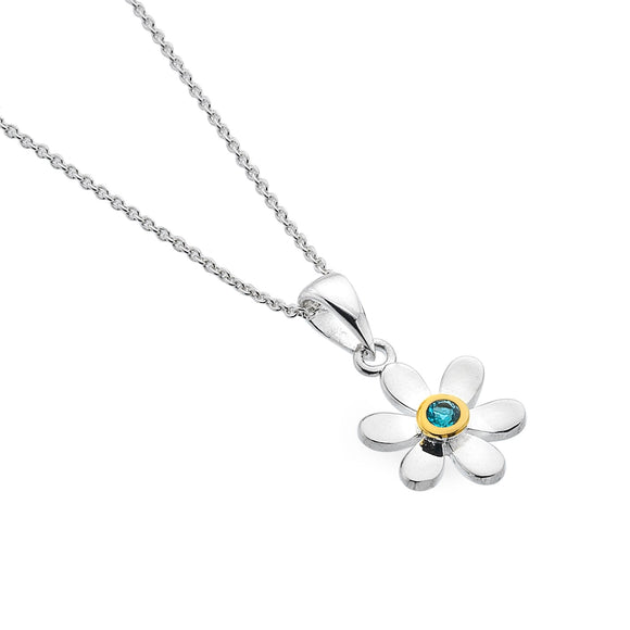 Blue Topaz Daisy Necklace