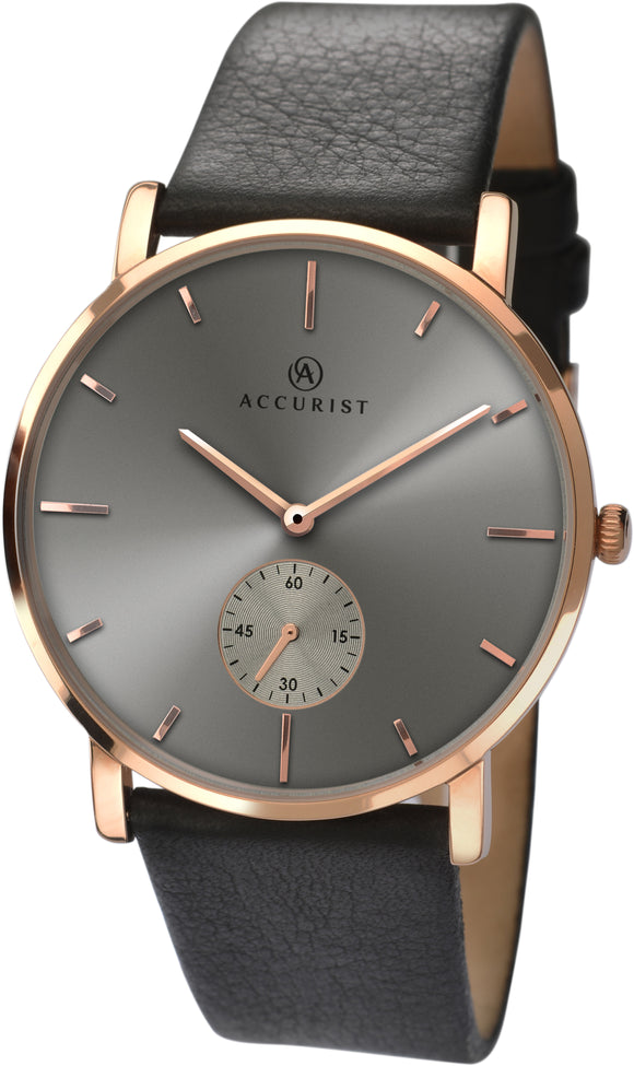 Brown leather and Rose Gold Mens Watch