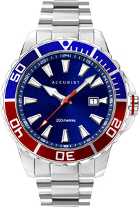 Blue and Red Mens Divers Watch