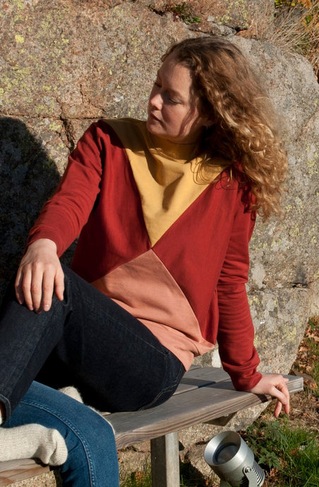 The Nor sweater - Gold/burnt red/rose