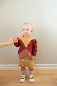 The Mini Nor sweater - Gold/burnt red/rose