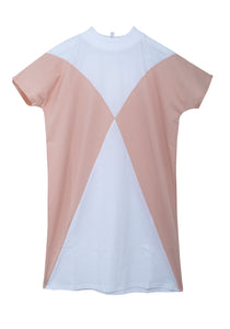 The Clara t-shirt dress - Optical white/Powder pink
