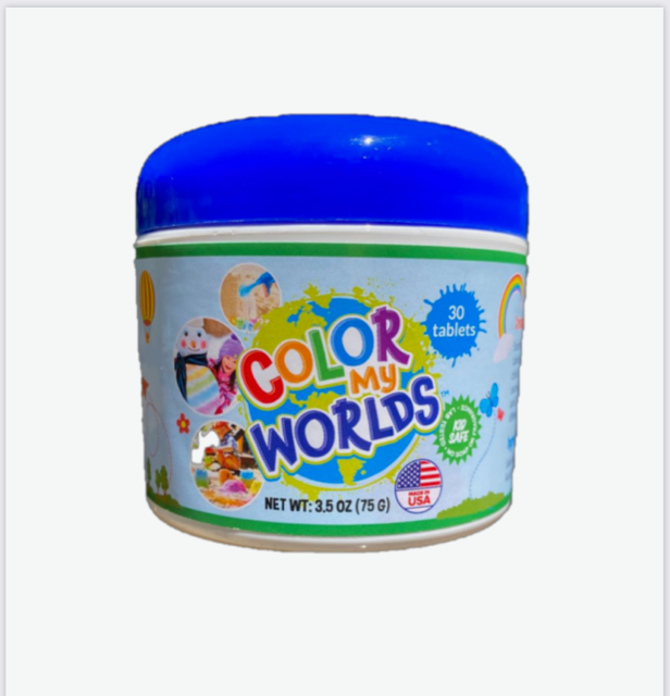 Color My Worlds - 30 Color Fizz Tablets for Kids Summer Fun