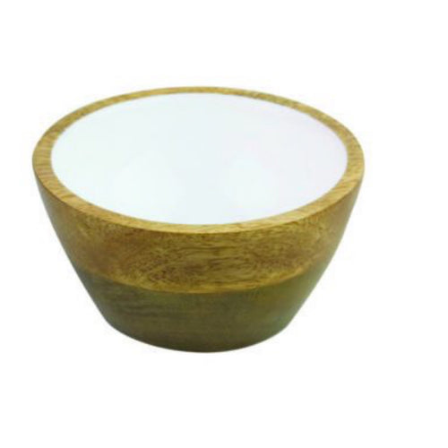 Be Home Mango Wood & White Enamel Bowl, SMALL