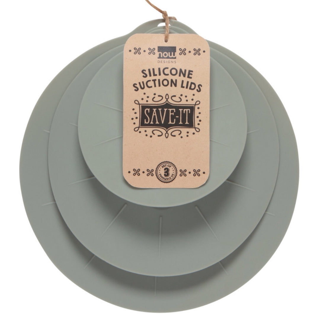Silocone Suction Lids Set/3 Gray