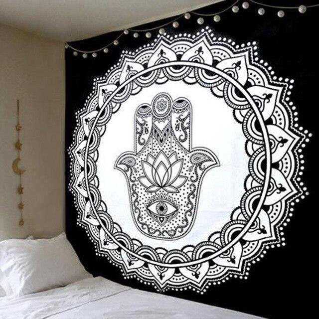 BLACK AND WHITE BUDDHIST HAND MANDALA TAPESTRY-Tapestry-THE TAPESTRY STORE