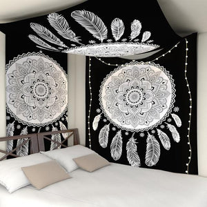 BLACK AND WHITE FLOWER MANDALA DREAMCATCHER TAPESTRY-Tapestry-THE TAPESTRY STORE