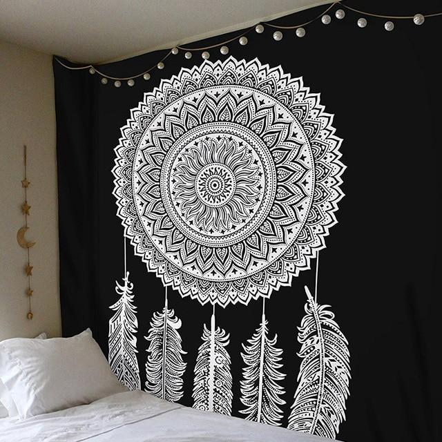 BLACK AND WHITE OMBRÉ MANDALA DREAMCATCHER TAPESTRY-Tapestry-THE TAPESTRY STORE