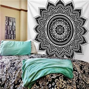 BLACK MANDALA DESIGN ON WHITE TAPESTRY-Tapestry-THE TAPESTRY STORE