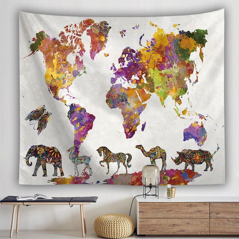 BOHEMIAN ANIMAL KINGDOM WORLD MAP TAPESTRY-Tapestry-THE TAPESTRY STORE