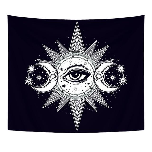 BOHEMIAN MOON SUN TAPESTRY WALL HANGING-Tapestry-THE TAPESTRY STORE