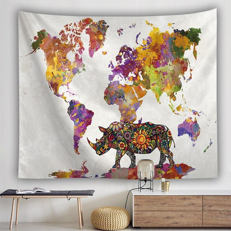 BOHEMIAN RHINO WORLD MAP TAPESTRY-Tapestry-THE TAPESTRY STORE