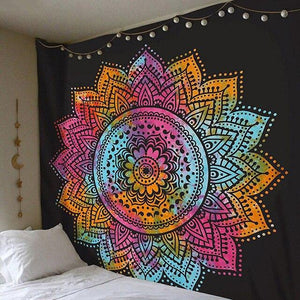 COLOURFUL MANDALA ON BLACK TAPESTRY-Tapestry-THE TAPESTRY STORE