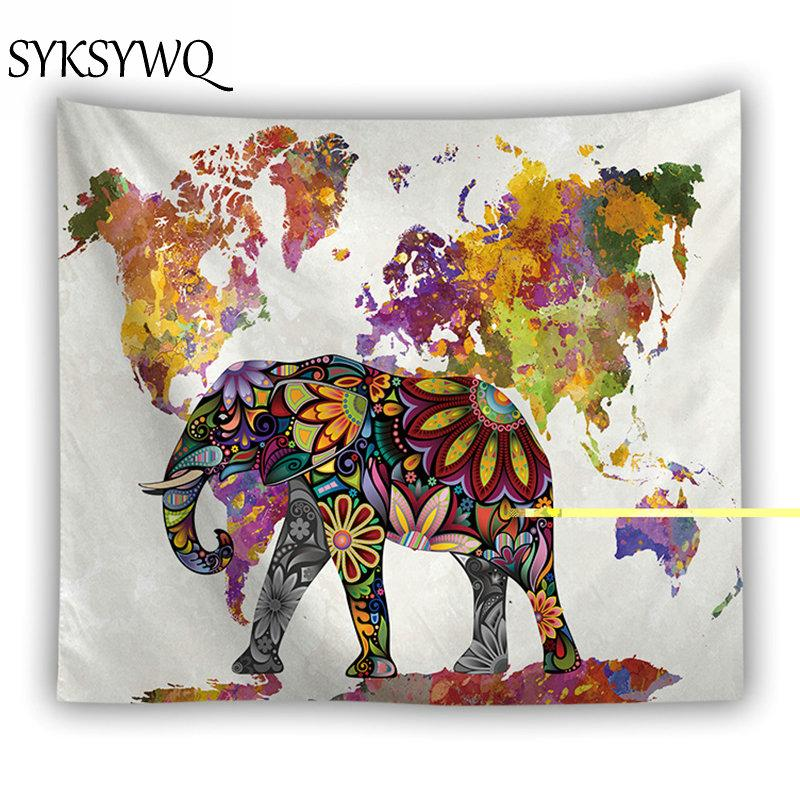 INDIAN ELEPHANT MANDALA FLOWER WORLD MAP TAPESTRY-Tapestry-THE TAPESTRY STORE
