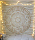 MANDALA BOHEMIAN INDIAN GOLD TAPESTRY-Tapestry-THE TAPESTRY STORE