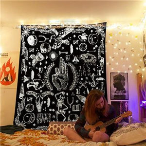 'SYMBOL SCATTER' BLACK AND WHITE TAPESTRY-Tapestry-THE TAPESTRY STORE