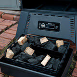 Scroll to product image Charcoal tray holds 16lbs of briquette charcoal or 12 pounds of lump charcoal