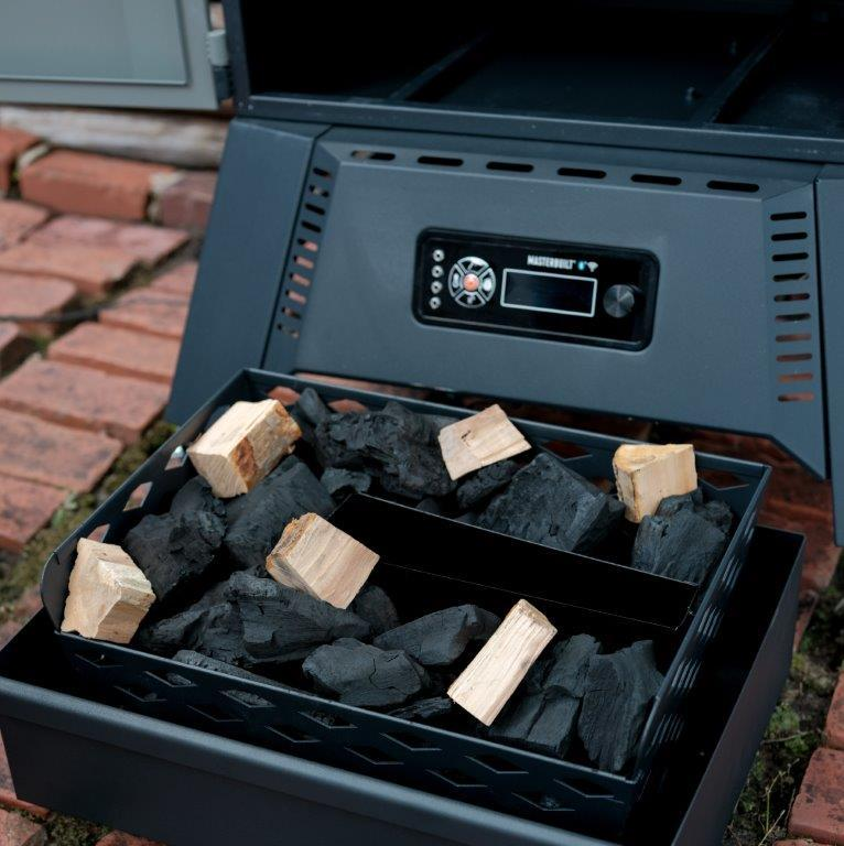 Charcoal tray holds 16lbs of briquette charcoal or 12 lbs of lump charcoal