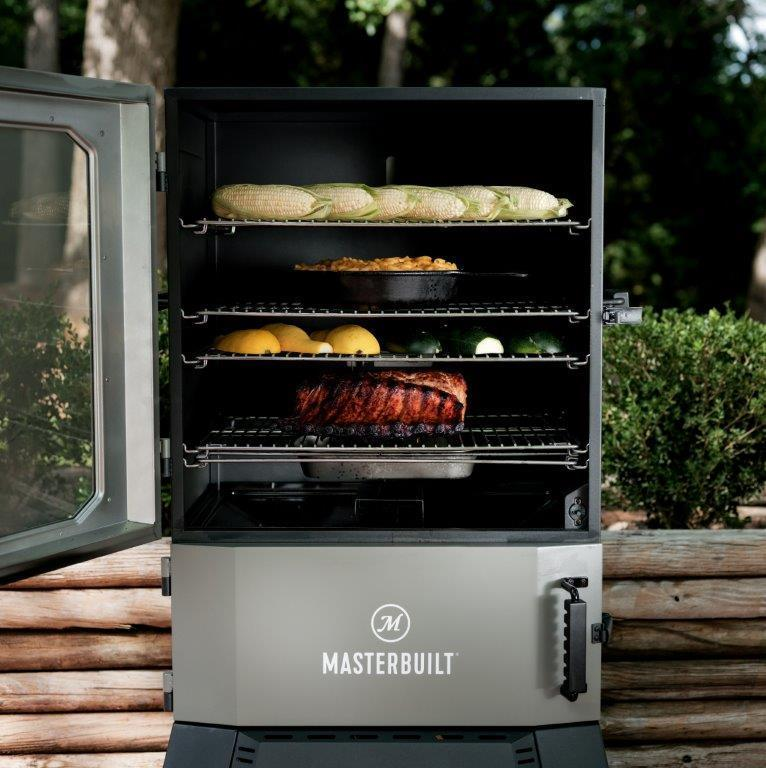 High capacity smoker with over 1,300 square inches of smoking and cooking space