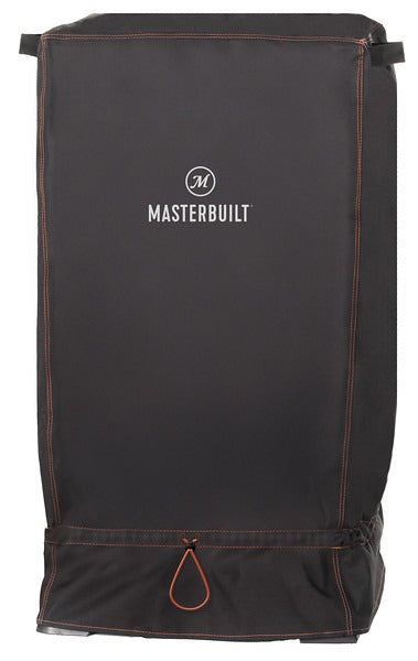 Black smoker cover with Masterbuilt logo. Locking-toggle cinch cord at base secures the cover.