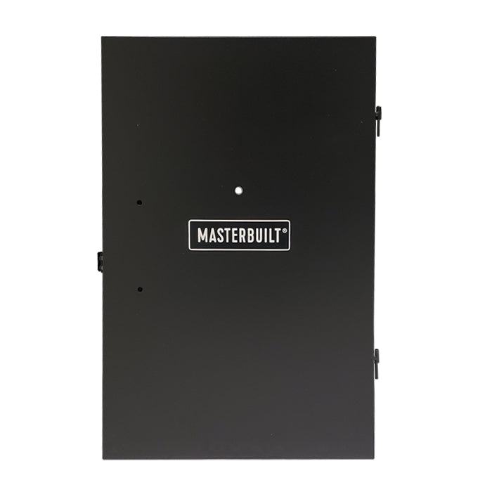 Solid black door with latch, 2 hinges, holes for handle and temperature probe, and Masterbuilt logo plate mounted on the front