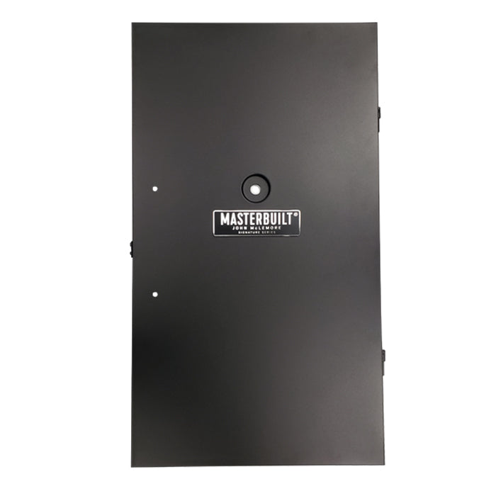 Black door with holes for handle, hole and inset for temperature gauge and Masterbuilt John McLemore Signature Collection plate