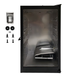 Metal smoker body with latch, temperature probe and wood chip assembly plus wheels, feet and hardware