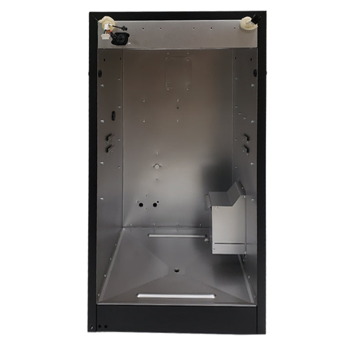 Interior of the fully assembled and wired body of a 30 inch black digital electric smoker (Gen 4)