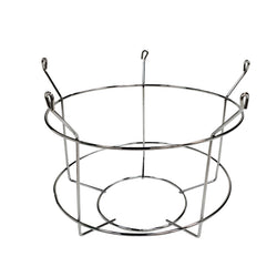 Round wire basket with bent loops for hanging