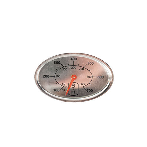 Oval heat indicator with Fahrenheit and Celsius scales