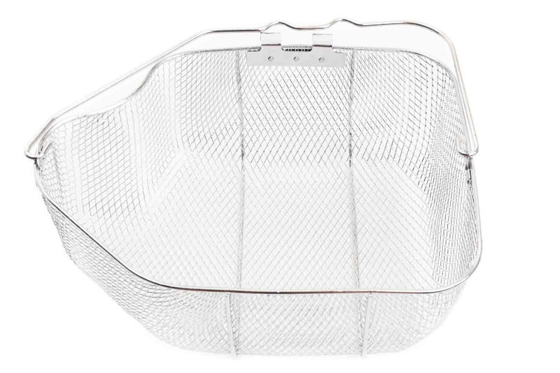 Wire basket with handle and side clips, shaped to hold a whole turkey