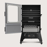 Scroll to product image 5 cooking racks in the smoking chamber and a separate door for easy access to the charcoal box